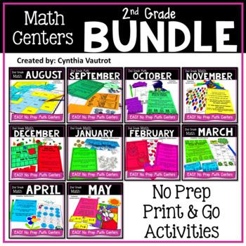 2nd Grade MATH Centers No Prep All Year Bundle