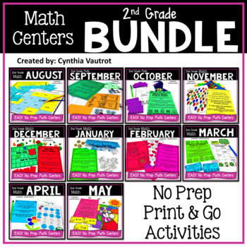 NO PREP! MATH Centers for All Year {2nd Grade}