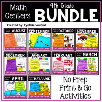 4th Grade MATH Centers No Prep All Year Bundle