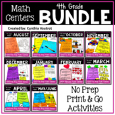 4th Grade MATH Centers No Prep All Year Bundle