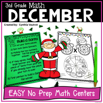 NO PREP MATH Centers for December {3rd Grade}