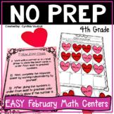 4th Grade MATH Centers for February No Prep