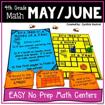NO PREP! MATH Centers for May & June {4th Grade}