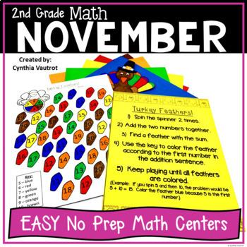 NO PREP MATH Centers for November {2nd Grade}