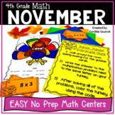 4th Grade MATH Centers for November No Prep