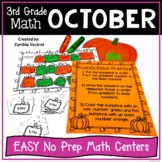 3rd Grade Math Centers for October No Prep