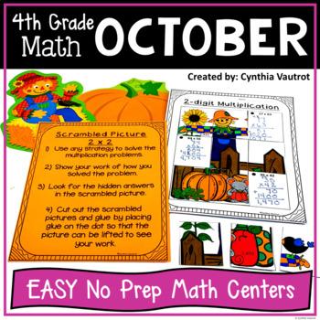 NO PREP! MATH Centers for October {4th Grade}