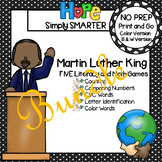NO PREP Martin Luther King, Jr., Themed Math and Literacy Games Bundle