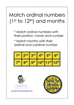 NO PREP:  Match Ordinal Numbers With Their Position, Name, Number & Months