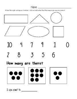 NO PREP Math Assessment (Shapes, Numbers thru 10, Counting)