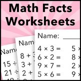Multiplication, Division, Addition, and Subtraction Math Facts