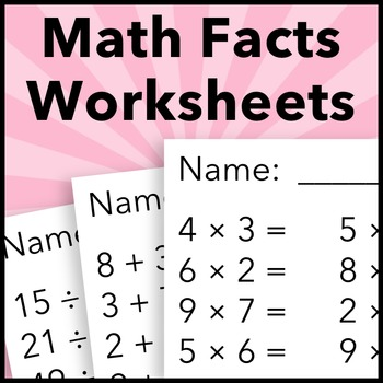 Summer Multiplication, Division, Addition, and Subtraction Math Facts