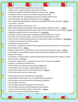 NO PREP Math Fun Back to School Common Core MAFS First Grade Envision PACKET