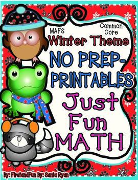 NO PREP Math Fun Winter Common Core MAFS First Grade Envision PACKET