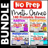 NO PREP Math Games Bundle for Math Facts Fluency: No Prep Math Centers