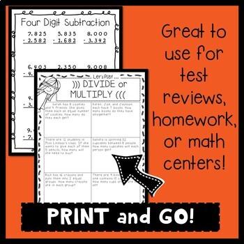NO PREP Math Packet (3rd Grade)