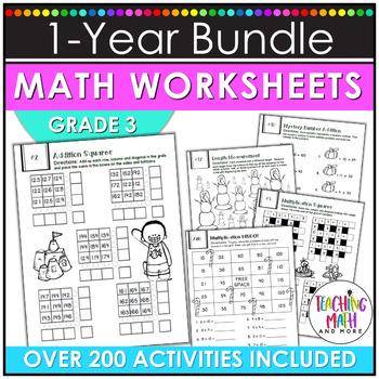 NO PREP Math Packets BUNDLE {3rd Grade}
