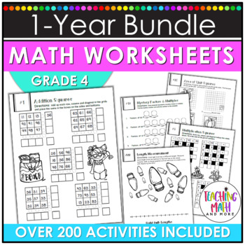 NO PREP Math Packets BUNDLE {4th Grade Collection}