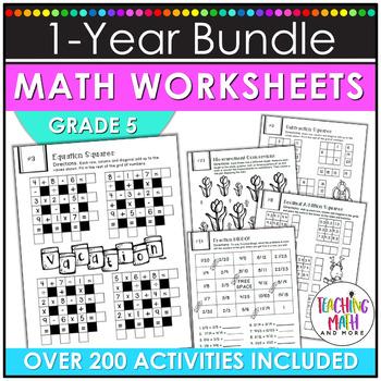 NO PREP Math Packets BUNDLE {5th Grade Collection}