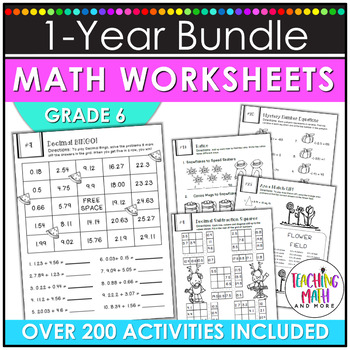 NO PREP Math Packets BUNDLE {6th Grade Collection}