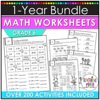 NO PREP Math Packets BUNDLE {6th Grade Collection}