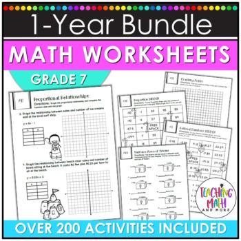 NO PREP Math Packets BUNDLE {7th Grade Collection}