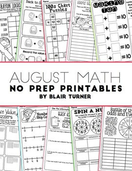 NO PREP Math Printables - AUGUST