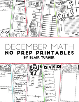 NO PREP Math Printables - DECEMBER