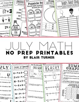 NO PREP Math Printables - JULY