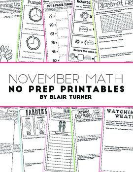 NO PREP Math Printables - NOVEMBER