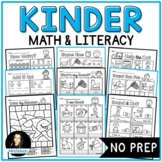 NO PREP Math and Literacy Activities Packet for Kinder Reading