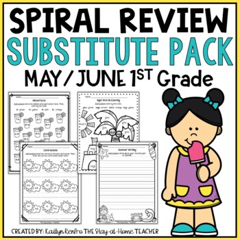 NO PREP May/June Substitute/Review Pack {1st Grade}