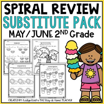 NO PREP May/June Substitute/Review Pack {2nd Grade}