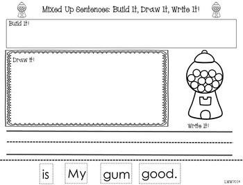 A NO PREP! BUNDLE Mixed Up Sentences!  Build it! Draw it! Write it!