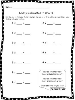 NO PREP Multiplication Roll to Win Games 0-10