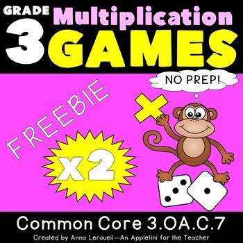 NO PREP Multiplication Roll to Win Game x2 FREEBIE 3.OA.C.7