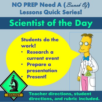NO PREP: Need A (Bunch of) Lessons Quick! Scientist of the Day Project - BIOLOGY