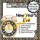 NO PREP New Year's Eve Themed Math and Literacy Games Bundle