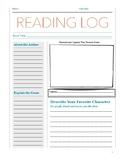 NO PREP Newspaper Book Report / Extended Response Reading Log