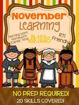 *NO PREP* November  Learning Skills Pre-K4 and Kindergarten