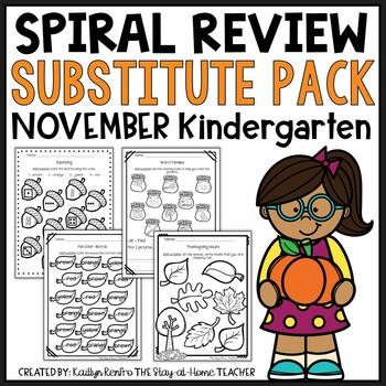 NO PREP November Sub Plans/Review Pack {Kinder}