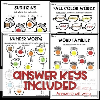 Sub Plans NO PREP Review Worksheets for November Kindergarten