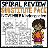 Sub Plans NO PREP Review Worksheets for November Kindergarten