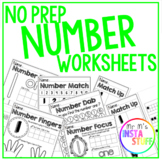 NO PREP Number Worksheet Pack