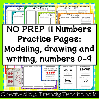 NO PREP- Numbers Practice Sheets- Practice showing, drawing and writing numbers