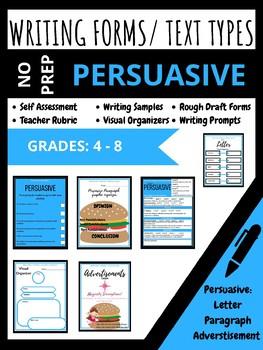 NO PREP PACK - Grades 4-8 - Persuasive writing prompts, rubrics (Ontario)