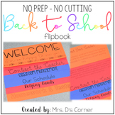 NO PREP Parent Handbook ( NO CUTTING ) Back to School Flip Book