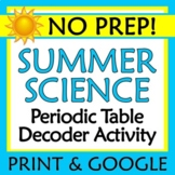 End of Year Summer Science Activity NO PREP Periodic Table Worksheet