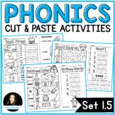 NO PREP Phonics Cut and Paste Activities Set 1.5 Short Vowels
