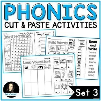 NO PREP Phonics Cut and Paste Activities Set 3 Long Vowels